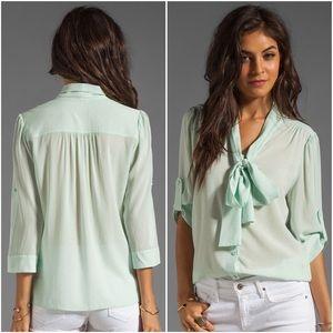 alice + olivia // arie bow tie neck silk blouse